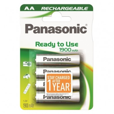 Panasonic – ready to use AA HR6 1900mAh 1,2V NiMH Akku – 4er Blister