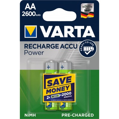 Varta – Recharge Accu 5716 AA HR6 2600mAh 1,2V NiMH Akku – 2er Blister