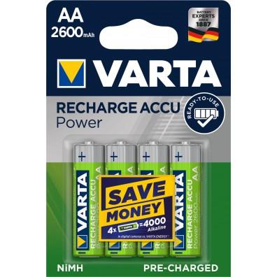 Varta – Recharge Accu 5716 AA HR6 2600mAh 1,2V NiMH Akku – 4er Blister