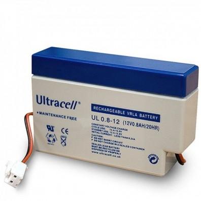 Ultracell - UL0.8-12JST 12V 0,8Ah mit JST Stecker & Kabelterminal Bleiakku AGM