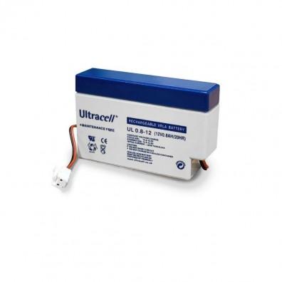 Ultracell -  UL0.8-12AMP 12V 0,8Ah mit AMP Stecker & Kabelterminal Bleiakku AGM