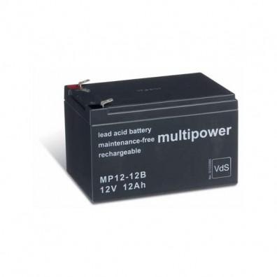 Multipower - MP12-12B Bleiakku 12V 12Ah 6,3 mm Faston - VdS Zulassung