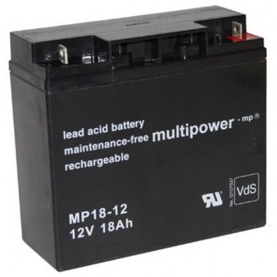 Multipower - MP18-12 Bleiakku mit M5-Schraubanschluss 12V 18Ah - VdS Zulassung