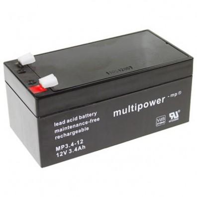 Multipower - MP3,4-12 Bleiakku 12V 3,4Ah m. 4,8mm Faston - VdS Zulassung