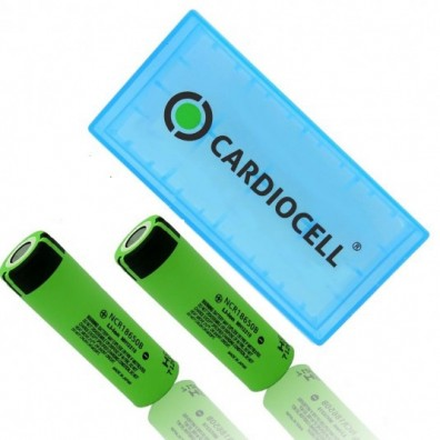 Panasonic - NCR-18650B 3400mAh 3,6V 6,2A Li-Ion Akku – 2 Stück inkl. CardioCell Box