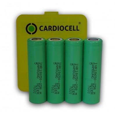 4x Samsung INR18650 25R 2500mAh 3,7V, Lithium Ionen Akku inkl. Cardiocell Akkubox