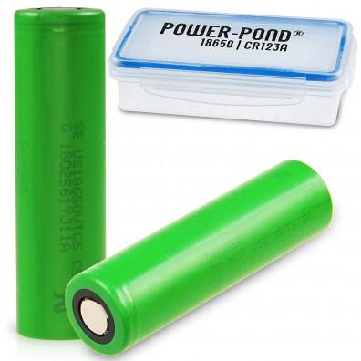 """2 x Sony US18650VTC5 Lithium Ionen 30A  2600mAh  inkl. staubdichter und wetterfester Akkubox """"POWER-POND"""""""