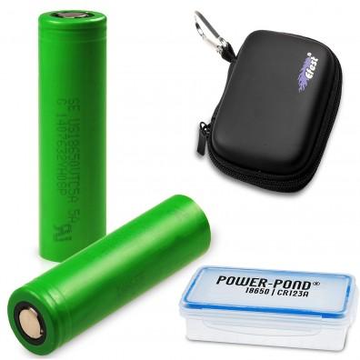 """Sony / Murata – Konion US 18650 VTC5A 2600mAh 3,6V-3,7V 35A Li-Ionen Akku – 2 Stück – inkl. Akkubox """"POWER-POND"""" und Efest Case"""