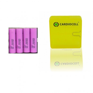 4x Samsung INR18650-35E Lithium Ionen 3500mAh 18650 10A inkl. Cardiocell Akkubox