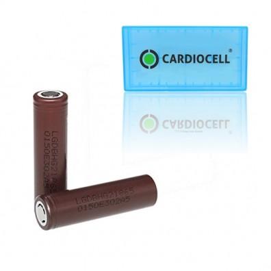 2x LG ICR 18650HG2 Li-Ion 3000mAh 20A LGDBHG21865 mit Cardiocell Box