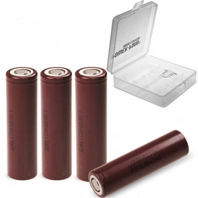 """LG- ICR 18650-HG2 3000mAh 3,6V-3,7V 20A Li-Ion Akku – 4 Stück inkl. Akkubox """"POWER-POND"""""""