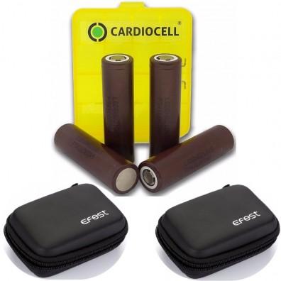 4x LG ICR 18650HG2 Li-Ion 3000mAh 20A LGDBHG21865 inkl. Cardiocell Box und 2x Efest Zipper Case
