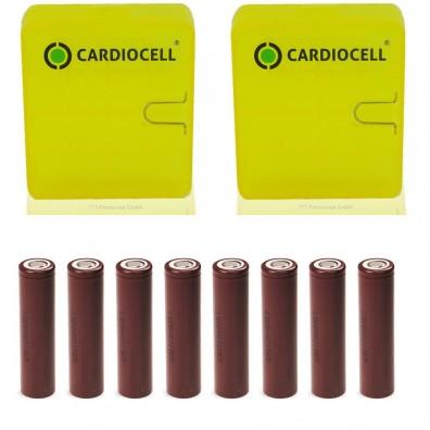 LG- ICR 18650-HG2 3000mAh 3,6V-3,7V 20A Li-Ion Akku – 8 Stück inkl. CardioCell Box