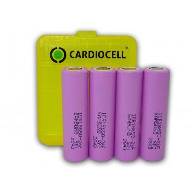 Samsung ICR18650-26F 2600mAh 3,7V 5,6A Li-Ionen Akku – 4 Stück inkl. CardioCell Box