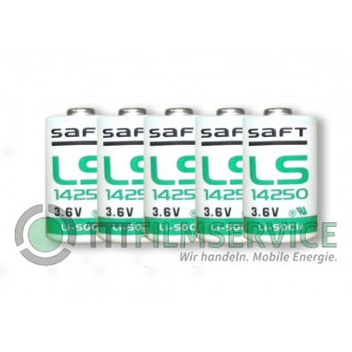 Saft – LS14250 1/2 AA 3,6V Lithium Batterie ohne Ableiter – 5 Stück