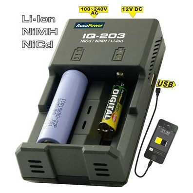 Accu Power - IQ203 Intelligentes Ladegerät für Li-Ion/NiCd/NiMH