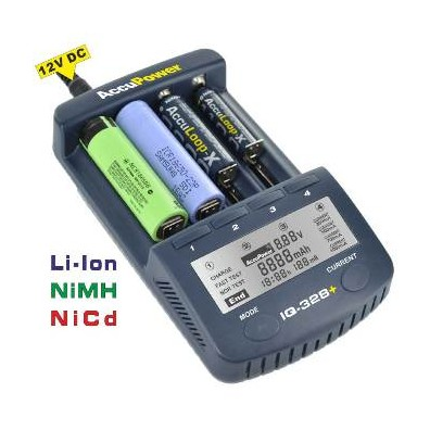 Accu Power - IQ328+ Universal Schnellladegerät für Li-Ion/NiCd/NiMH-Akkus incl. 4 x Panasonic 18650B