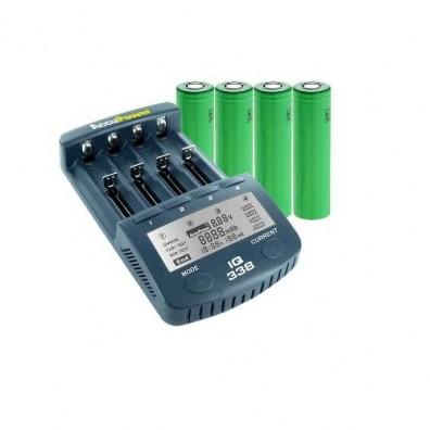 Accu Power - IQ338 Ladegerät inkl. 4x Sony US18650VTC5 2600mAh hochstrom Akkus