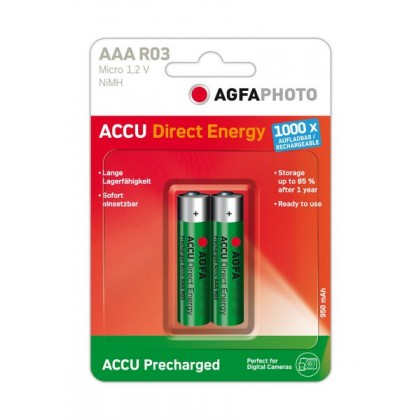 AgFA Photo – Direct Energy AAA HR03 950mAh 1,2V NiMH Akku – 2er Blister