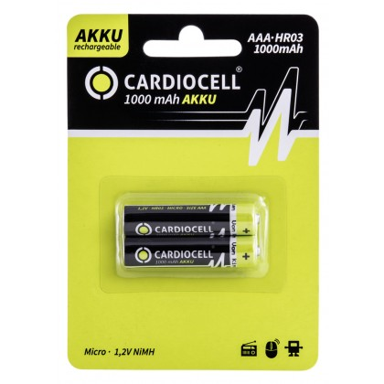 Cardiocell – 1100 Serie AAA HR03 1000mAh NiMH Akku – 2er Blister
